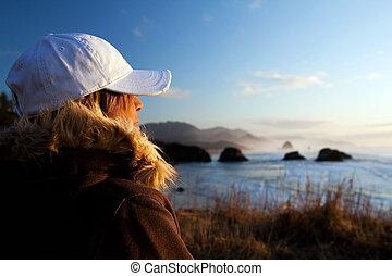 海岸, 女, 見落とすこと, 海洋