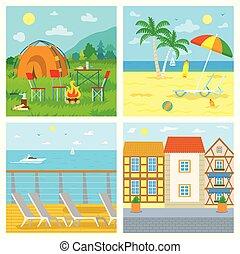 海岸, 山, カフェ, 旅行, キャンプ