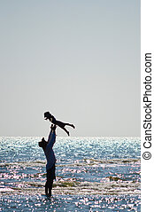 海岸, 幸せ, 父, 息子