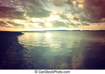海岸, 日没, 風景