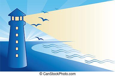 海岸, 灯台, 夜明け