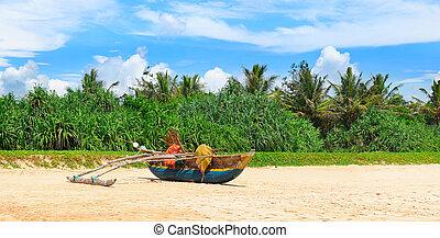 海岸, 砂, 古い, 漁船