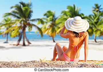 海岸, 美しい, ビキニ, 女