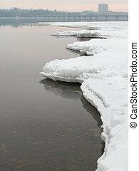 海岸, 鋭い, 凍らせられた