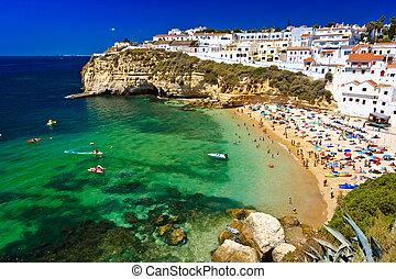 海岸, -, algarve, ポルトガル, 岩