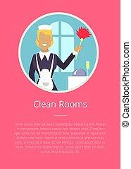 海报, 旅馆, 少女, 房间, 清洁, 环绕, 图标