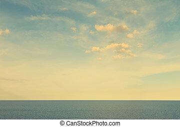 海景, 天空, 影響, 過濾器, 葡萄酒, 雲
