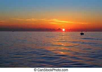 海景, 日出, 首先, 太陽, 橙, 在, 藍色, 海