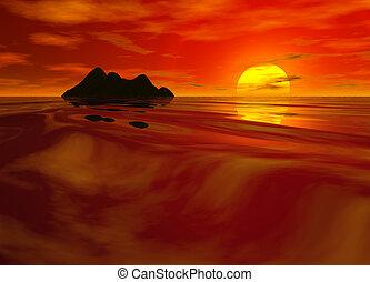 海景, 明るい, 日没, 赤