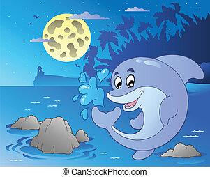 海景, 跳躍, イルカ, 夜