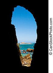 海景, 透過, a, 山洞