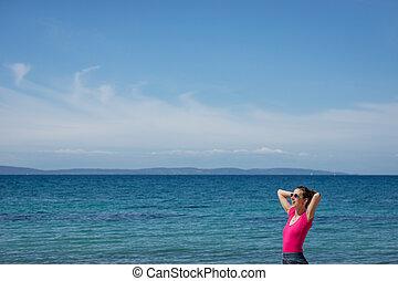 海洋生物, 地位, 楽しむ, 女