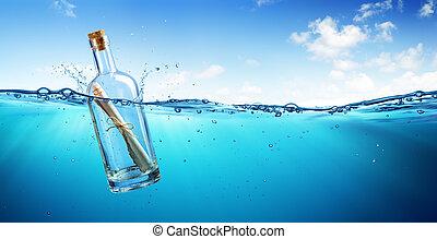 海洋, びん, 浮く, メッセージ