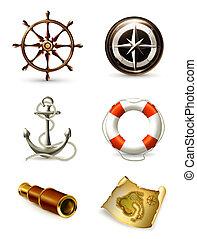海洋, セット, 高く, 品質, アイコン, 10eps