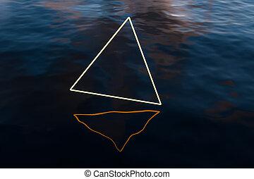 海洋, ライン, 3d, 広く, 白熱, rendering., 三角形