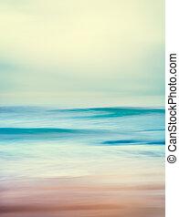 海洋, レトロ, 波