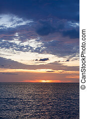 海洋, 天空scape, 傍晚