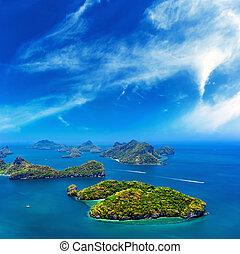 海洋, 島, パノラマである, 風景
