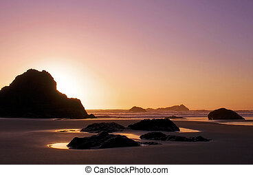 海洋, 平靜, 粉紅色的天空, 傍晚