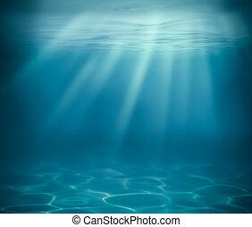 海洋, 或者, 海, 深, 水下, 背景