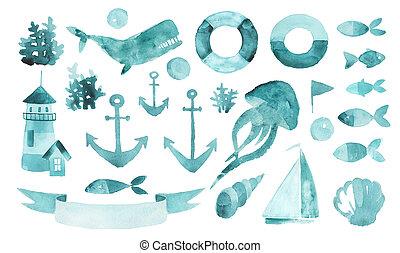 海洋, 手, イラスト, 引かれる, 水彩画, 要素, theme., セット