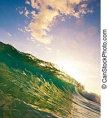 海洋, 日没, 波