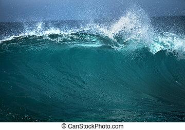 海洋 波, よい, 使用, の, 白, テキスト, 広告, 上に, 青い背景