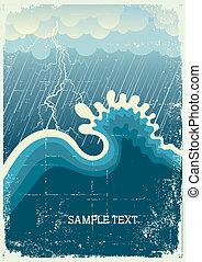 海洋 波, 攻撃する, 嵐, 大きい, 稲光