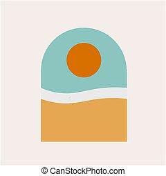 海洋, 海岸, art., 抽象的, 浜, 海, デジタル, illustration.