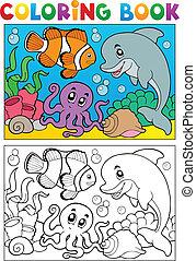 海洋, 着色, 動物, 本, 6