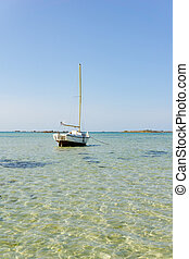 海洋, 縦, 青い海岸, 下に, 風景, 小さい, 空, ヨット, 浜