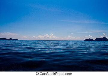 海洋, 表面, 以及藍色, 天空, 由于, 云霧
