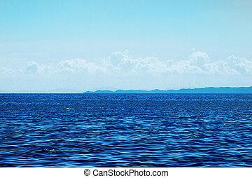 海洋, 表面, 以及藍色, 天空, 由于, 云霧, 由于, 山見解
