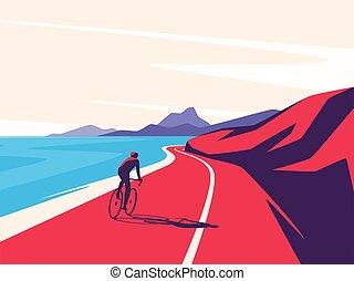海洋, 道, 乗馬, イラスト, ベクトル, サイクリスト, 前方へ, 山