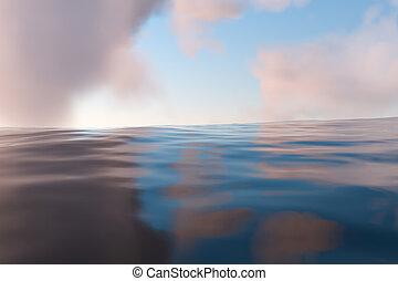 海洋, 雲, によって, 行く, 3d, 日光, 広く, rendering.