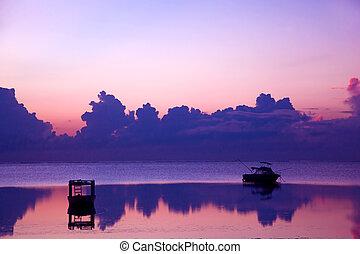 海洋, boat., 日没