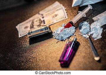 海洛因, 由于, 勺, 打火机, 以及, 錢。, 毒癮, 概念