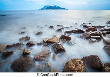 海浪, 卵石, 角度, 低