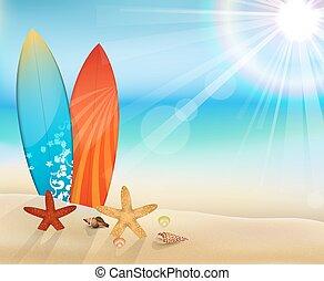 海滩, 冲浪板, 白天