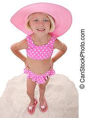 海滩, 女孩, 帽子, 孩子