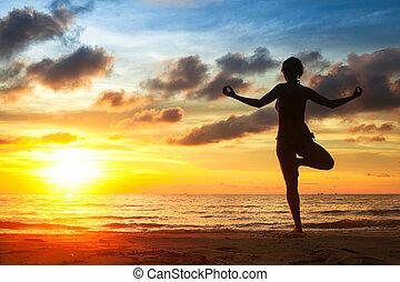 海滩, 妇女, 实践, 在期间, 瑜伽, sunset.