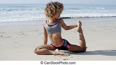 海滩, 妇女, 瑜伽姿态