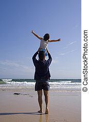 海滩, 父亲, 儿子