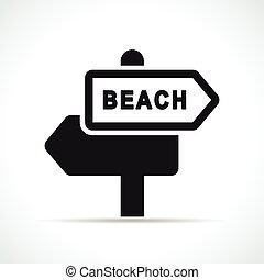 海滩, 矢量, 黑色, 签署, 图标