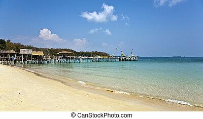 海灘, 木制, 海灣, 碼頭, 美麗