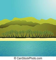 海灘, 棕櫚, 場景, 樹