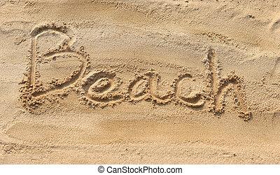 海灘, -, 沙子, 寫