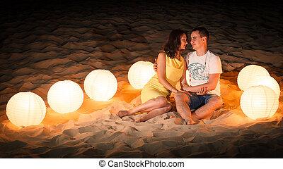 海灘, 浪漫史, 光, 夫婦
