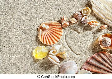 海灘, 白沙, 心形狀, 印刷品, 暑假