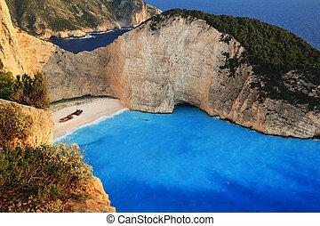 海灘, navagio, 在, zakynthos, 希臘